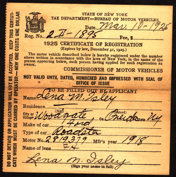 New York State Motor Vehicle Registration