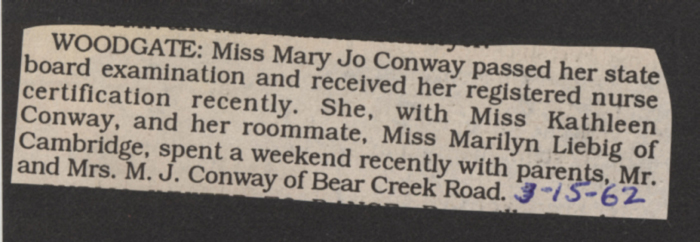 conway mary jo registered nurse certification